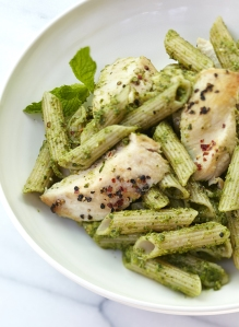 Gluten-Free Penne with Lemon-Cumin Chicken and Pesto